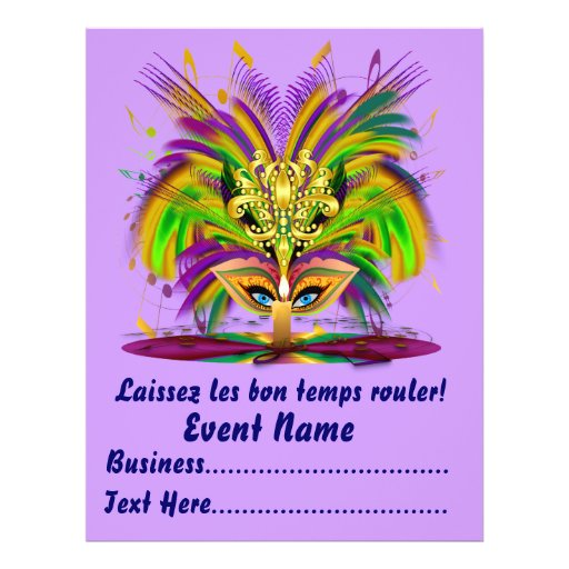 """Mardi Gras Carvinal 8.5"""" x 11""""  Please View Notes Full Color Flyer"""
