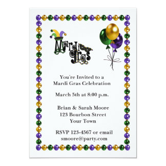 Mardi Gras Celebration 13 Cm X 18 Cm Invitation Card