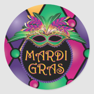 Mardi Gras Celebration Stickers! Round Sticker