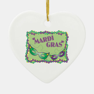 Mardi Gras Ceramic Heart Decoration