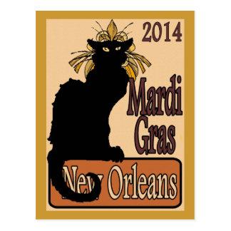 Mardi Gras Chat Noir Postcard