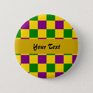 Mardi gras checkered pattern 6 cm round badge