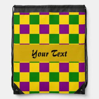 Mardi gras checkered pattern drawstring bag