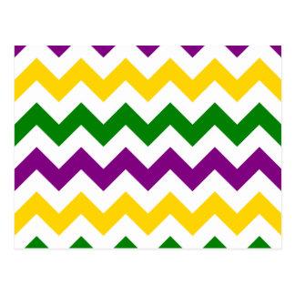 Mardi Gras Chevron Pattern Postcard