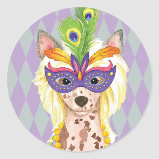 Mardi Gras Chinese Crested Classic Round Sticker