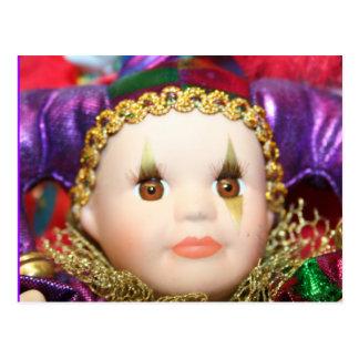 Mardi Gras clown doll Post Cards