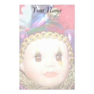 Mardi Gras clown doll stationary Stationery
