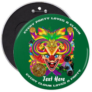 Mardi Gras Clown  view notes please 6 Cm Round Badge
