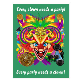 Mardi Gras Clown View Notes please Post Card
