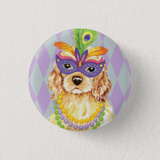 Mardi Gras Cocker Spaniel 3 Cm Round Badge