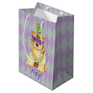Mardi Gras Cocker Spaniel Medium Gift Bag