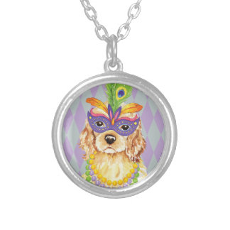 Mardi Gras Cocker Spaniel Silver Plated Necklace