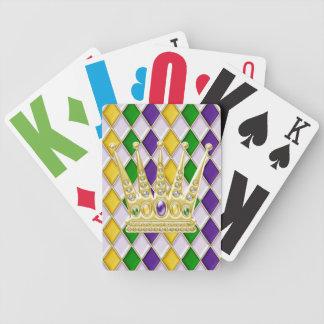 Mardi Gras Crown Harlequin Pattern White Card Deck