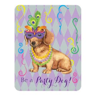 Mardi Gras Dachshund Card