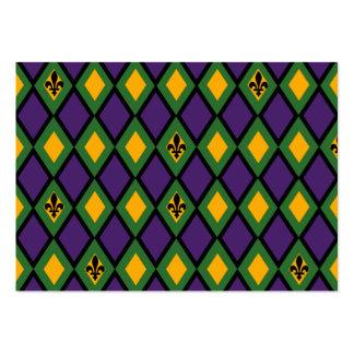 Mardi Gras Diamond Pattern With Fleur De Lis Pack Of Chubby Business Cards