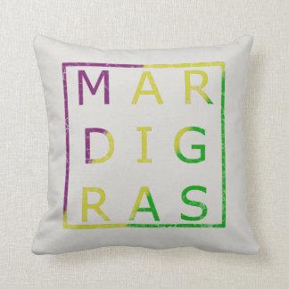 Mardi Gras Distressed Purple, Gold, Green Pillow
