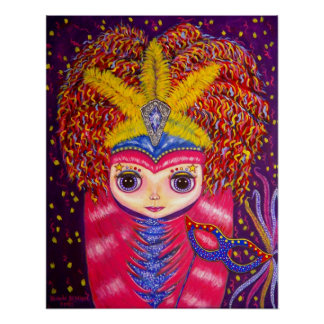 Mardi Gras Doll Print