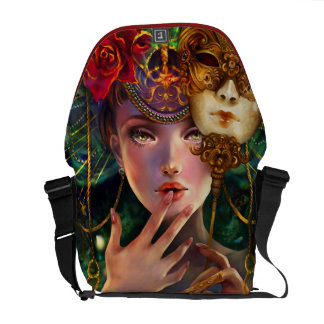 Mardi Gras Fancy Surreal Masquerade Mask Girl Art Courier Bag