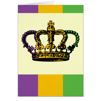 Mardi Gras Flag Crown Card