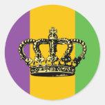 Mardi Gras Flag Crown Round Stickers