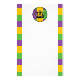 Mardi Gras Flag Crown Personalized Stationery