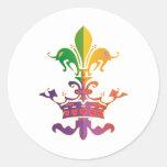 Mardi Gras Fleur de Crown Round Sticker