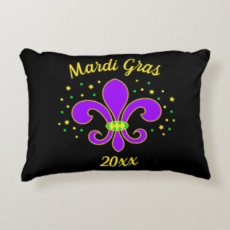 Mardi Gras Fleur-de-lis Add Year Decorative Cushion