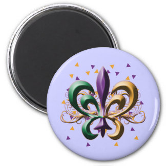 Mardi Gras Fleur de Lis Design 6 Cm Round Magnet