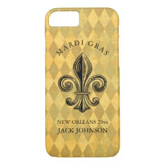 Mardi Gras Fleur-de-lis Harlequin Add Name & Year iPhone 8/7 Case