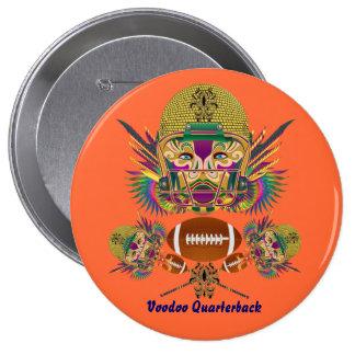 Mardi Gras Football Quarterback view notes Please 10 Cm Round Badge