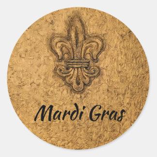 Mardi Gras French Fleur de Lis Classic Round Sticker