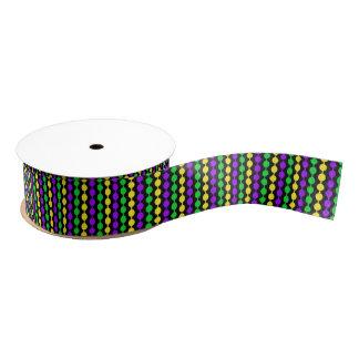 Mardi Gras Green, Yellow, Purple Beads on Black Grosgrain Ribbon