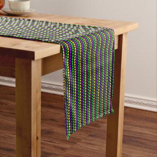 Mardi Gras Green, Yellow, Purple Beads on Black Long Table Runner
