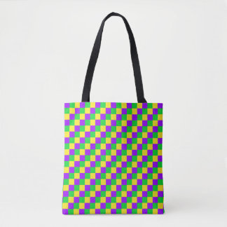 Mardi Gras Green, Yellow, Purple Checkered Tote Bag