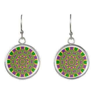 Mardi Gras Green Yellow Purple Pattern Mandala Earrings