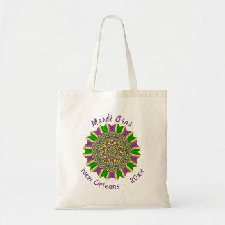 Mardi Gras Green Yellow Purple Pattern Mandala Tote Bag