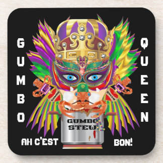 Mardi Gras Gumbo Queen View Hints please Beverage Coaster