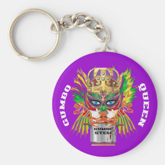 Mardi Gras Gumbo Queen View Hints please Basic Round Button Key Ring