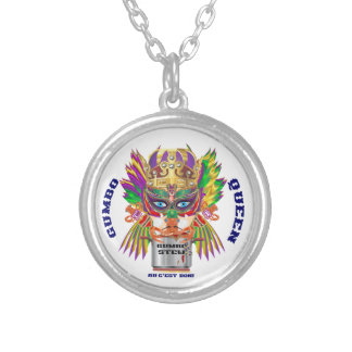 Mardi Gras Gumbo Queen View Hints please Round Pendant Necklace