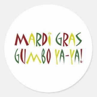 Mardi Gras - Gumbo Ya-Ya! (red, yellow & green) Round Stickers