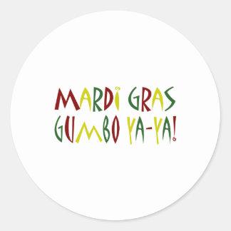 Mardi Gras - Gumbo Ya-Ya red yellow green Round Stickers