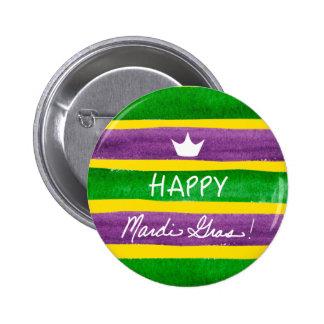 Mardi Gras Hand Painted Purple Green Gold Stripes 6 Cm Round Badge