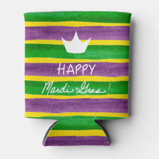 Mardi Gras Hand Painted Purple Green Gold Stripes Can Cooler