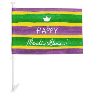 Mardi Gras Hand Painted Purple Green Gold Stripes Car Flag