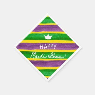 Mardi Gras Hand Painted Purple Green Gold Stripes Disposable Serviettes