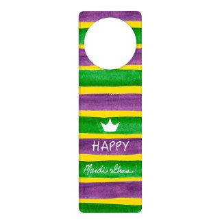 Mardi Gras Hand Painted Purple Green Gold Stripes Door Knob Hanger