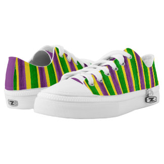 Mardi Gras Hand Painted Purple Green Gold Stripes Low Tops