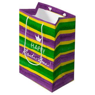 Mardi Gras Hand Painted Purple Green Gold Stripes Medium Gift Bag
