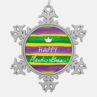 Mardi Gras Hand Painted Purple Green Gold Stripes Pewter Snowflake Decoration