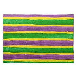 Mardi Gras Hand Painted Purple Green Gold Stripes Placemat